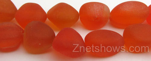Cultured Sea Glass nugget Beads  <b>10-15mm</b> 83-Tangerine (7-pc-str)   per  <b>5-strand-hank</b>
