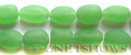 Cultured Sea Glass nugget Beads  <b>18-22mm</b> 44-Opaque Spring Green (6-pc-str)(4-in-str)   per  <b>5-str-hank</b>