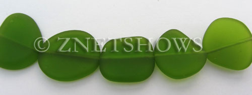 Cultured Sea Glass freeform flat Beads  <b>21-25mm</b> 22-Olive (5-pc-str)   per  <b>5-str-hank</b>