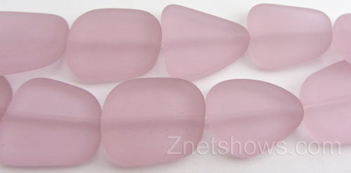 Cultured Sea Glass freeform flat Beads  <b>18-22mm</b> 06-Blossom Pink (4-inch-strand)   per  <b>5-strand-hank</b>