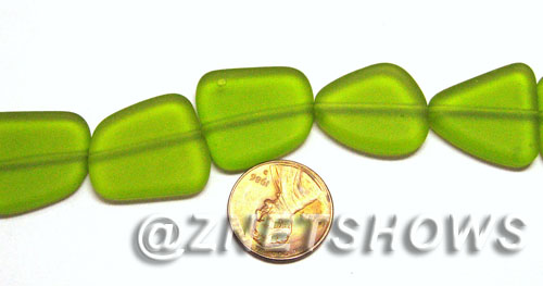 Cultured Sea Glass freeform flat Beads  <b>18-22mm</b> 22-Olive (9-pc-str)   per  <b>8-in-str</b>