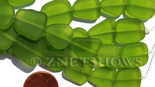 Cultured Sea Glass freeform flat Beads  <b>13-16mm</b> 22-Olive (4-in-str)(6-pc-str)   per  <b>5-str-hank</b>