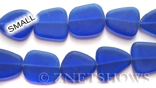 Cultured Sea Glass freeform flat Beads  <b>13-16mm</b> 33-Royal Blue    per  <b>14-pc-str</b>