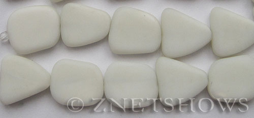 Cultured Sea Glass freeform flat Beads  <b>18-22mm</b> 42-Opaque White (4-inch-strand)   per  <b>5-str-hank</b>