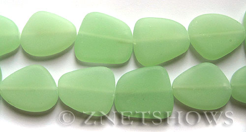 Cultured Sea Glass freeform flat Beads  <b>18-22mm</b> 43-Opaque Seafoam Green (4-in-str)(5-pc-str)   per  <b>5-str-hank</b>