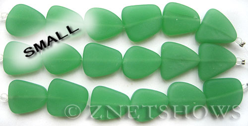 Cultured Sea Glass freeform flat Beads  <b>18-22mm</b> 44-Opaque Spring Green (4-in-str)(6-pc-str)   per  <b>5-str-hank</b>