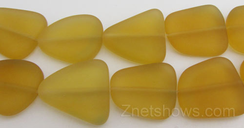 Cultured Sea Glass freeform flat Beads  <b>18-22mm</b> 57-Saffron Yellow (9-pc-str)   per  <b>8-in-str</b>