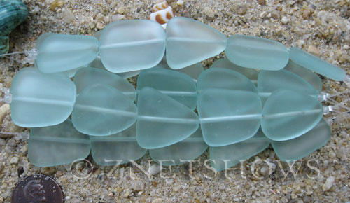 Cultured Sea Glass freeform flat Beads  <b>18-22mm</b> 88-Light Aqua `Coke` bottle Seafoam (4-inch-strand)(5-pc-str)   per  <b>5-str-hank</b>