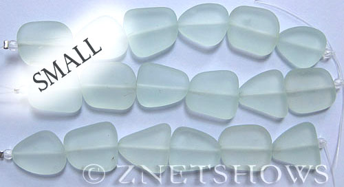 Cultured Sea Glass freeform flat Beads  <b>13-16mm</b> 88-Light Aqua `Coke` bottle Seafoam    per  <b>14-pc-str</b>