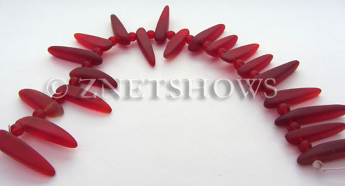 Cultured Sea Glass tusk Beads  <b>varied</b> 05-Cherry Red (20-pc-str)   per  <b>4-str-hank</b>