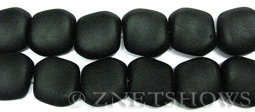 Cultured Sea Glass square nugget Beads  <b>18x17mm</b>  02-Jet Black (6-pc-strad)   per  <b>5-strand-hank</b> (6-pc-str)