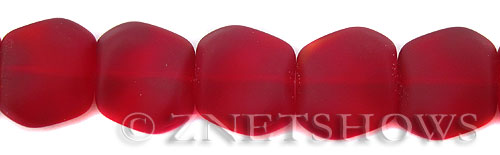Cultured Sea Glass square nugget Beads  <b>18x17mm</b> 05-Cherry Red (11-pc-strad)   per  <b>8-in-str</b>