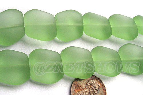 Cultured Sea Glass square nugget Beads  <b>18x17mm</b> 23-Peridot (12-pc-strad)   per  <b>8-in-str</b>