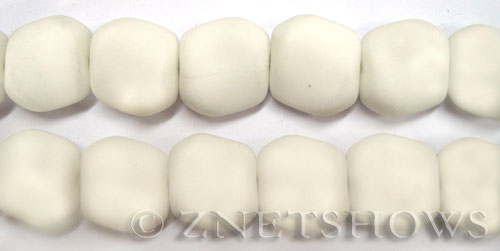 Cultured Sea Glass square nugget Beads  <b>18x17mm</b> 42-Opaque White    per  <b>5-strand-hank</b>(6-pc-str)