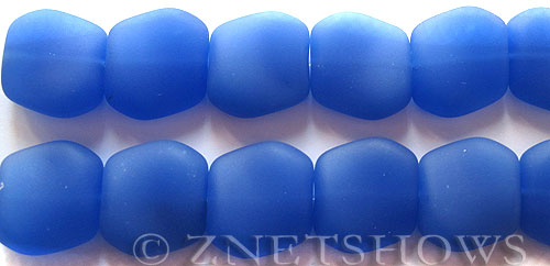 Cultured Sea Glass square nugget Beads  <b>18x17mm</b> 47-Opaque Sky Blue (6-pc-strad)   per  <b>5-strand-hank</b> (6-pc-str)