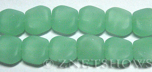 Cultured Sea Glass square nugget Beads  <b>18x17mm</b> 892-Opaque Seafoam Green (12-pc-strand)   per  <b>8-in-str</b>