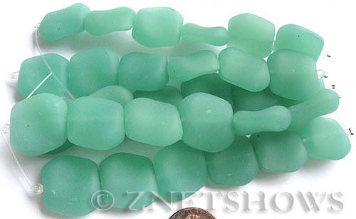 Cultured Sea Glass square nugget Beads  <b>18x17mm</b> 892-Opaque Seafoam Green (6-pc-strand)   per  <b>5-strand-hank</b>
