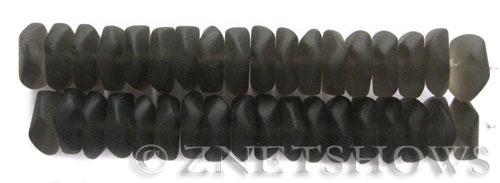 Cultured Sea Glass button freeform Beads  <b>14-15mm</b> 15-Smoky Quartz     per  <b>18-pc-str</b>