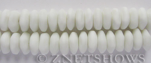 Cultured Sea Glass button freeform Beads  <b>14-15mm</b> 42-Opaque White (4-in-str)   per  <b>18-pc-str</b>