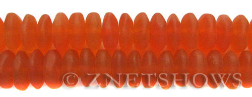 Cultured Sea Glass button freeform Beads  <b>14-15mm</b> 83-Tangerine (4-in-str)   per  <b>18-pc-str</b>
