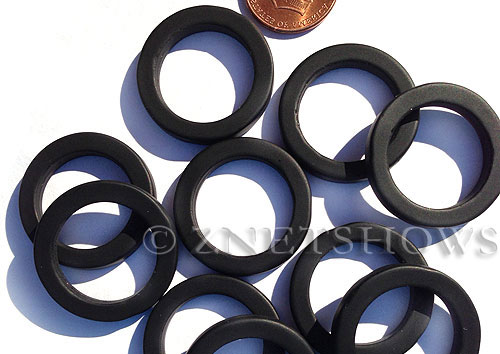 Cultured Sea Glass ring Beads  <b>27mm</b> 02-Jet Black Bottle-neck style rings    per  <b>10-pc-bag</b>