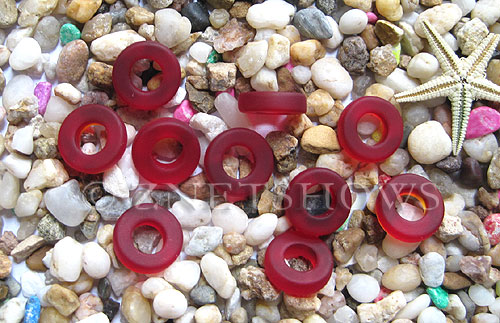Cultured Sea Glass ring Beads  <b>12mm</b> 05-Cherry Red Bottle-neck style rings    per  <b>10-pc-bag</b>