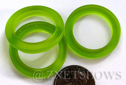 Cultured Sea Glass ring Beads  <b>27mm</b>  22-Olive Bottle-neck style rings    per  <b>10-pc-bag</b>