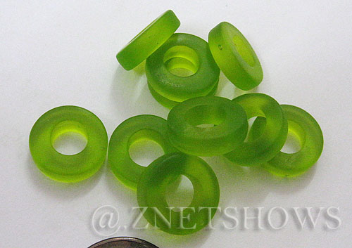 Cultured Sea Glass ring Beads  <b>12mm</b> 22-Olive Bottle-neck style rings    per  <b>10-pc-bag</b>