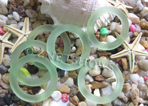 Cultured Sea Glass ring Beads  <b>27mm</b> 23-Peridot Bottle-neck style rings    per  <b>10-pc-bag</b>