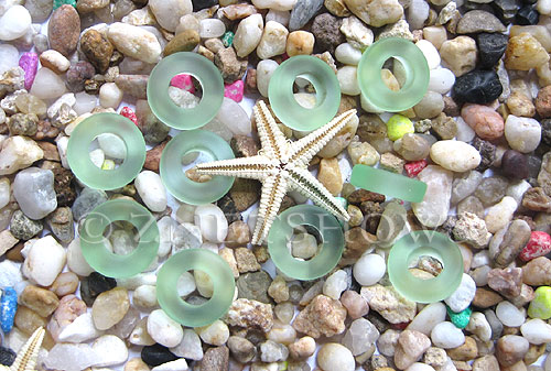 Cultured Sea Glass ring Beads  <b>12mm</b> 23-Peridot Bottle-neck style rings    per  <b>10-pc-bag</b>