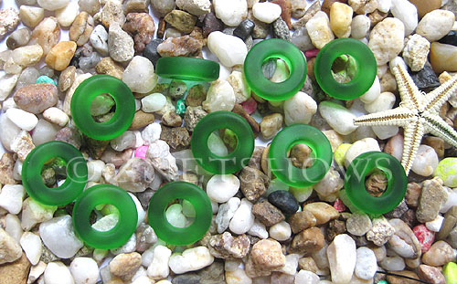 Cultured Sea Glass ring Beads  <b>12mm</b> 25-Shamrock Bottle-neck style rings    per  <b>10-pc-bag</b>