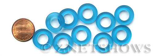 Cultured Sea Glass ring Beads  <b>16mm</b> 30-Pacific Blue Bottle-neck style rings    per  <b>10-pc-bag</b>