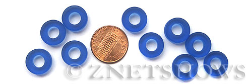 Cultured Sea Glass ring Beads  <b>12mm</b> 33-Royal Blue Bottle-neck style rings    per  <b>10-pc-bag</b>