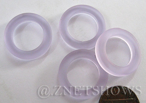 Cultured Sea Glass ring Beads  <b>23mm</b> 39-Periwinkle Changes Bottle-neck style rings    per  <b>10-pc-bag</b>