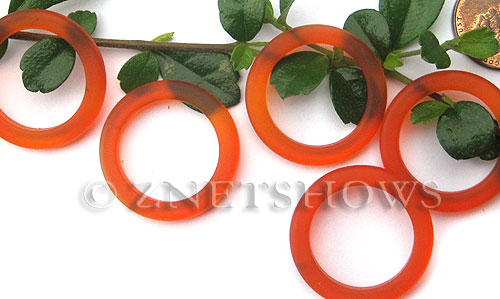Cultured Sea Glass ring Beads  <b>27mm</b> 83-Tangerine Bottle-neck style rings    per  <b>10-pc-bag</b>