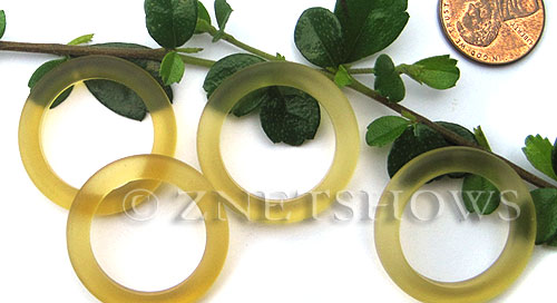 Cultured Sea Glass ring Beads  <b>27mm</b> 84-Lemon Bottle-neck style rings    per  <b>10-pc-bag</b>