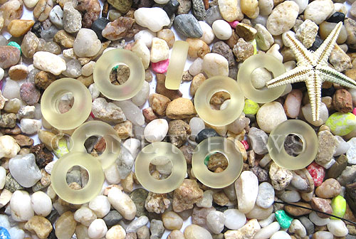 Cultured Sea Glass ring Beads  <b>12mm</b> 84-Lemon Bottle-neck style rings    per  <b>10-pc-bag</b>