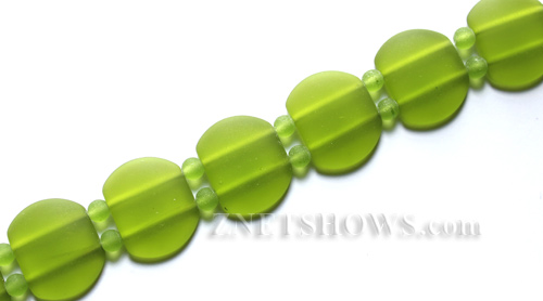 Cultured Sea Glass double hole Beads 21x17mm  22-Olive    per  <b>12-pc-str </b>
