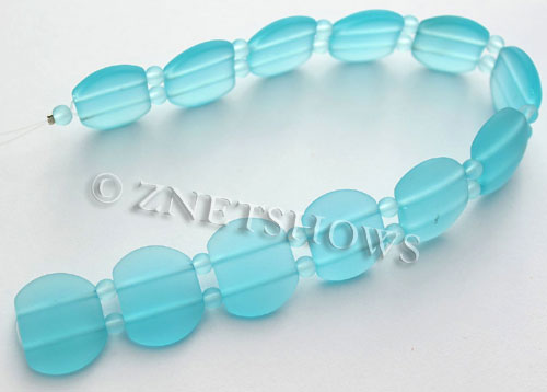 Cultured Sea Glass double hole Beads 21x17mm  28-Turquoise Bay    per  <b>12-pc-str </b>