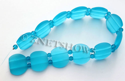 Cultured Sea Glass double hole Beads 21x17mm  30-Pacific Blue    per  <b>12-pc-str </b>