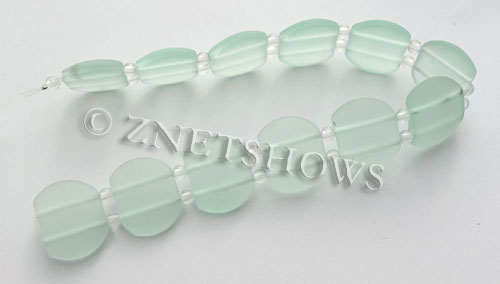 Cultured Sea Glass double hole Beads 21x17mm  88-Light Aqua `Coke` bottle Seafoam    per  <b>12-pc-str </b>