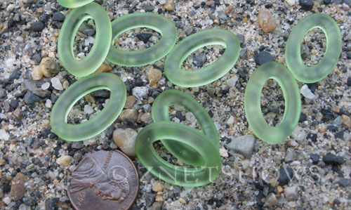Cultured Sea Glass oval ring Pendants  <b>22x16mm</b> 23-Peridot (New and smaller size)   per  <b>10-pc-bag</b>