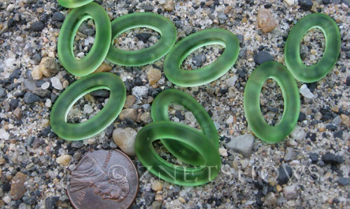 Cultured Sea Glass oval ring Pendants  <b>22x16mm</b>	 25-Shamrock (New and smaller size)   per  <b>10-pc-bag</b>