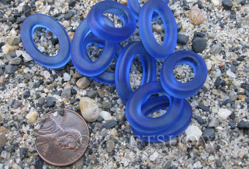 Cultured Sea Glass oval ring Pendants  <b>22x16mm</b> 33-Royal Blue (New and smaller size)   per  <b>10-pc-bag</b>