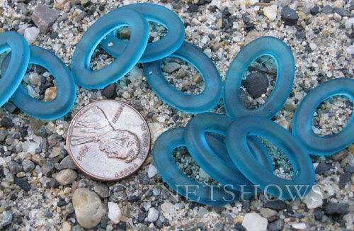 Cultured Sea Glass oval ring Pendants  <b>22x16mm</b> 82-Teal (New and smaller size)   per  <b>10-pc-bag</b>
