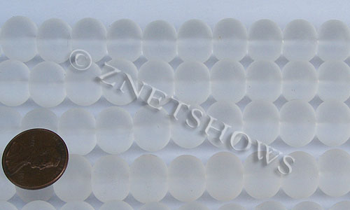 Cultured Sea Glass rondelle Beads  <b>14x10mm</b> 01-Crystal    per  <b>5-str-hank</b>