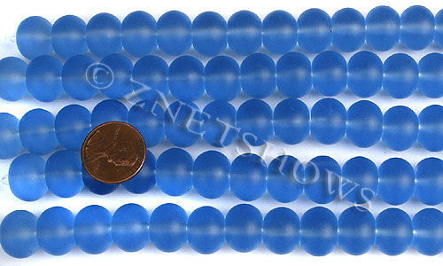 Cultured Sea Glass rondelle Beads  <b>14x10mm</b> 31-Light Sapphire    per  <b>5-str-hank</b>