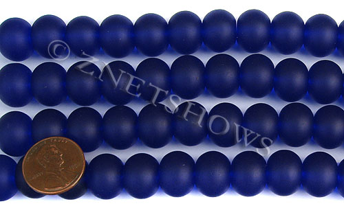 Cultured Sea Glass rondelle Beads  <b>14x10mm</b> 33-Royal Blue    per  <b>5-str-hank</b>
