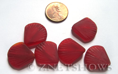 Cultured Sea Glass shell Beads  <b>21x19mm</b> 05-Cherry Red    per  <b>6-pc-bag</b>
