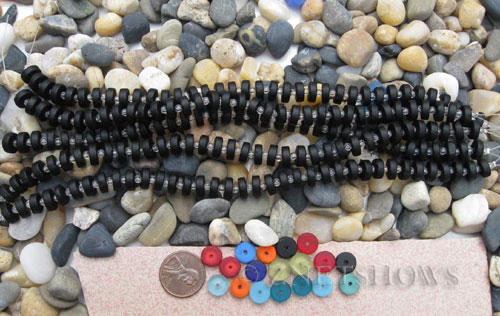 Cultured Sea Glass button heishi Beads  <b>9mm</b> 02-Jet Black (8-in-str)(36-pc-str)   per  <b>5-str-hank</b>